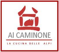 Logo Caminone scritta rossa cucina delle alpi